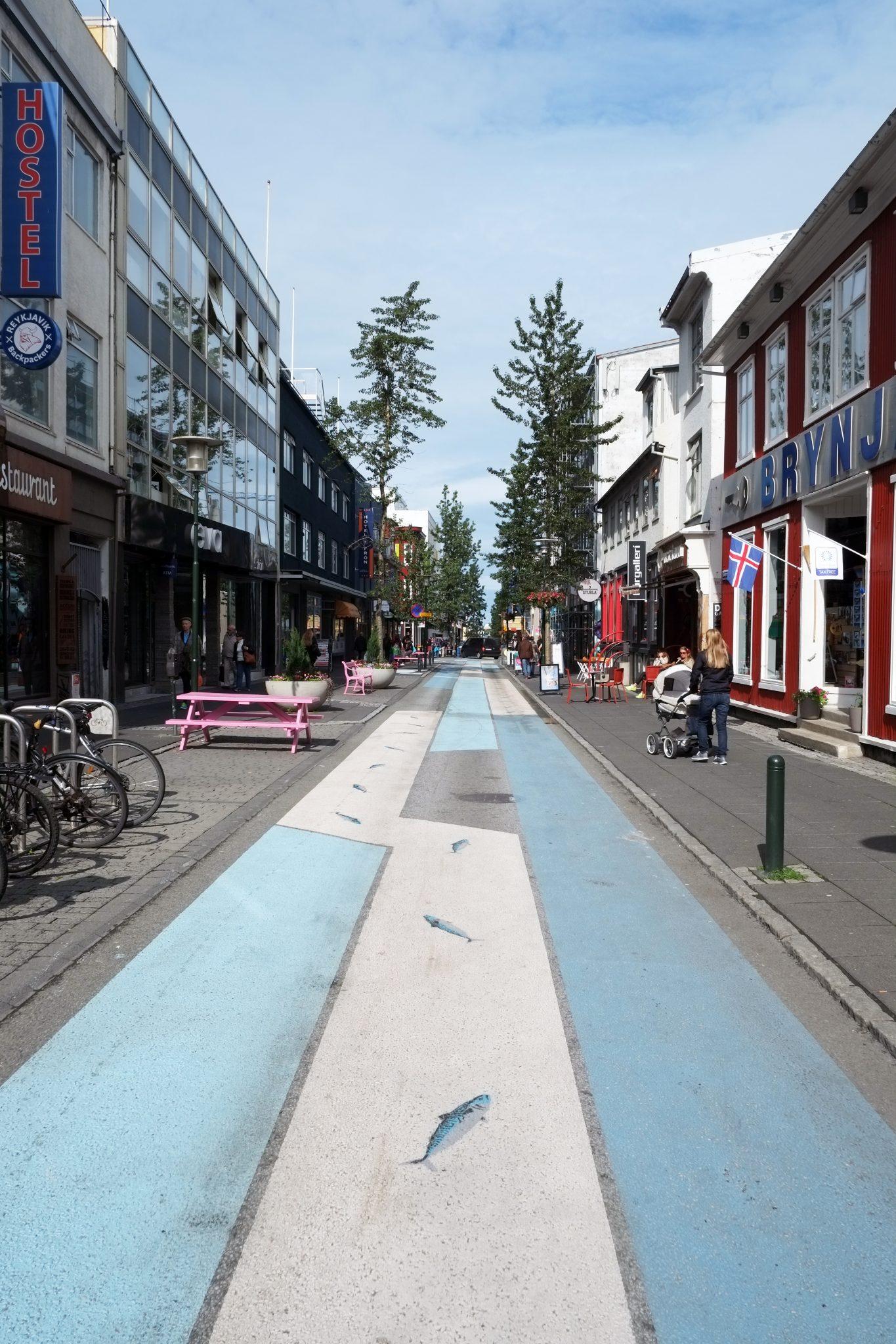 Laugavegur und Skólavördustigur Island Shoppingstraße